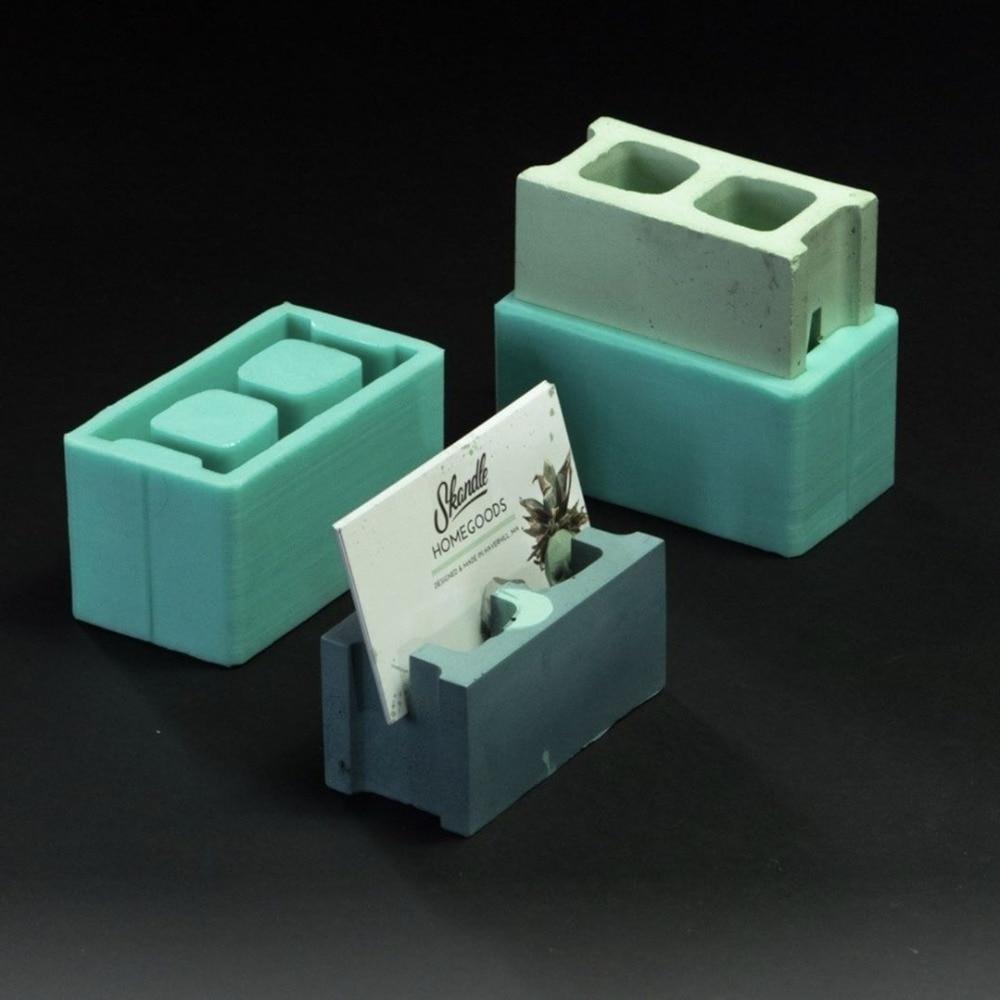 Concrete Pen Holder Silicone Mold Desktop Office Creative Ornaments Silicone Brick Mold 6*3cm
