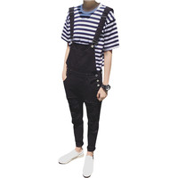Male Suspenders 2016 New Brand Casual Black And White Denim Overalls Ripped Jeans Pockets Men S
