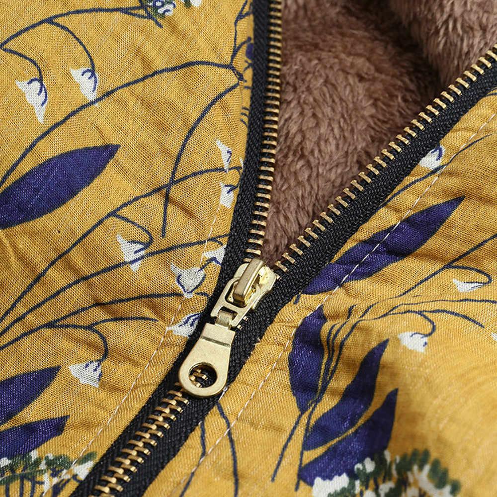 Парка пальто Женская ветрозащитная тонкая хлопковая куртка теплая куртка с капюшоном зимние теплые карманы с цветочным принтом ВИНТАЖНЫЕ пальто больших размеров