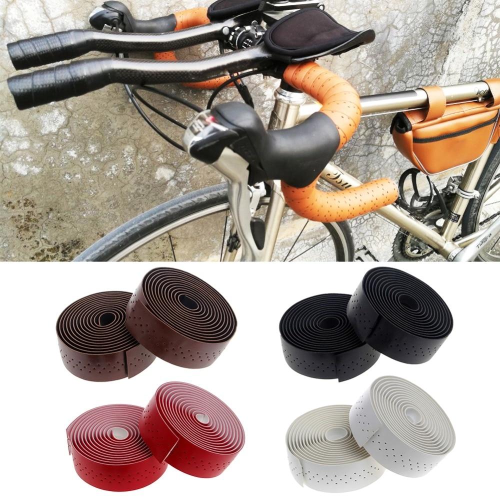 1Pair PU Leather Cycling Road Bike Bicycle Handlebar Wrap Tape With 2 Bar Plug