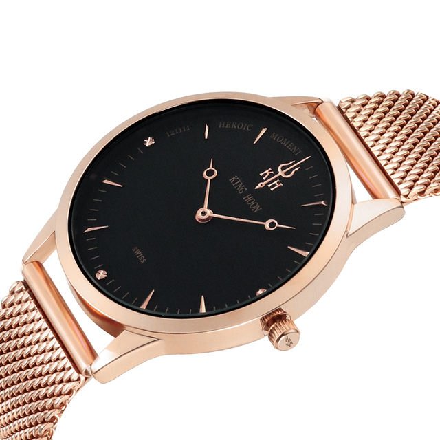KING HOON Watch Men Top Brand Luxury Ultra Thin Stainless Steel Mesh Band 40mm Fashion Casual Male Clock Saat Quartz Men Watches