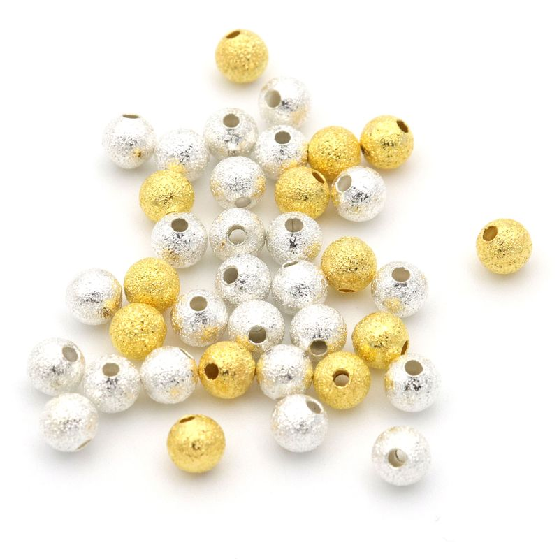 4 5 mm Silver Gold Color Spacer Seed Ball Frosted Metal Beads For Jewelry Making Beadwork Needlework Diy Accessories Wholesale jewelry making