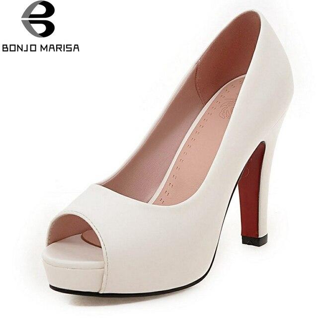 BONJOMARISA 2019 אביב סתיו אלגנטי מוצק משאבות נשים גודל גדול 32-43 רדוד להחליק על פלטפורמה גבוהה עקבים ol נעלי אישה