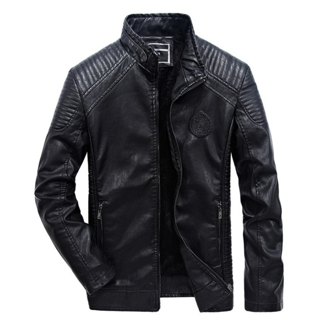 Icpans Pu Leather Jackets Men Motorcycle Stand Collar Jaquetas de Winter Black Brown Leather Jacket Men Leather Coat Outwear