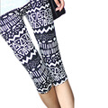 Polainas de las mujeres 2016 Verano Estampado Geométrico Siete Puntos Mallas Mujer Seda de La Leche Leggins Elástico Tie-dye Pantalones Capri BG441