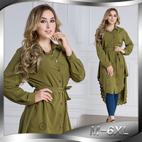 6XL Plus Size Long Sleeved Muslim Tops Casual Turkey Arabic Hollow Out Women Tops and Blouses High Low Blusas Mujer De Moda 2019