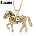 Horse Necklace Multicolor Crystal Rhinestone Long Chain Necklaces Pendants For Women Gift M374