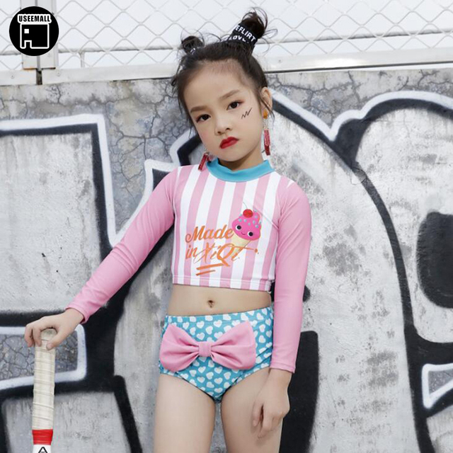 d217b4e89d USEEMALL Brand New Little Girls Swimwear Long Sleeves Two Pieces Swimsuits  Cute Baby Girl Kids Bathing Suits Pink Yellow Color