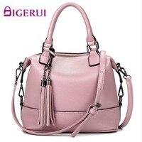 2017 Bolsa Feminina Pink Bucket Bag Tassel Leather Bags Handbags Women Famous Brands Tote Bags Simple