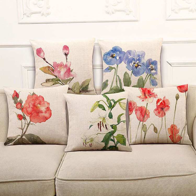 ✓High Quality Pillow Covers HandPainted Flower Series Fashion Adorable Hand Painted Decorative Pillows
