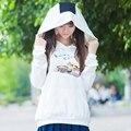 Chicas blanco lindo sudaderas Harajuku hámster impresión Bola de arroz con capucha de manga larga camiseta ocasional Outwear Tops