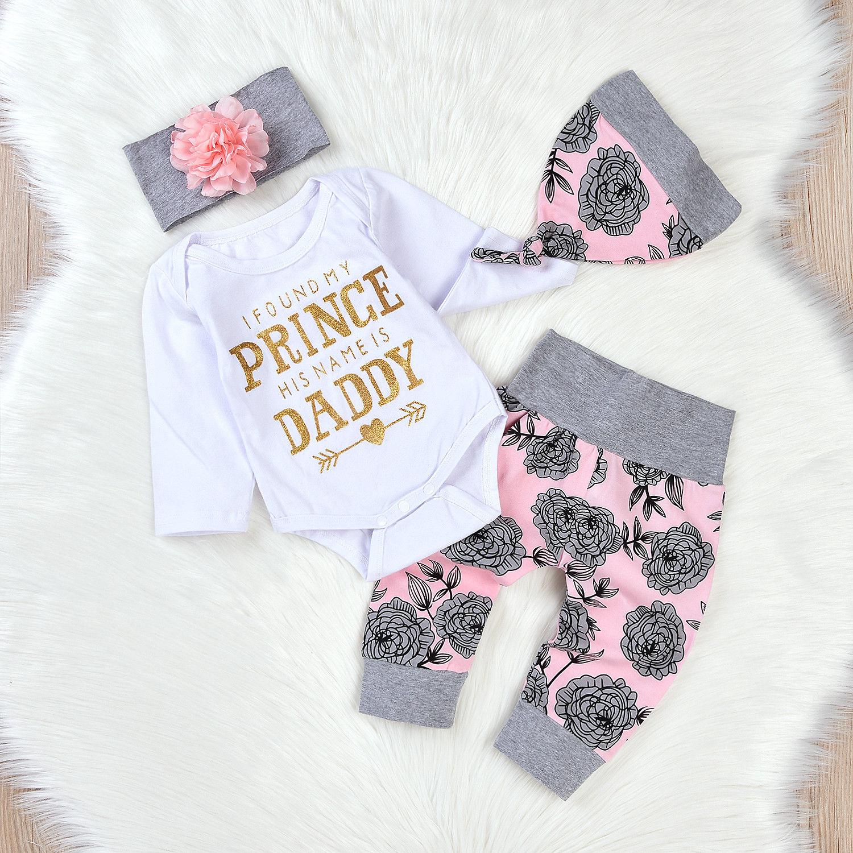 4pcs newborn baby girls tops romper pants leggings hat for Cute shirts for 5 dollars