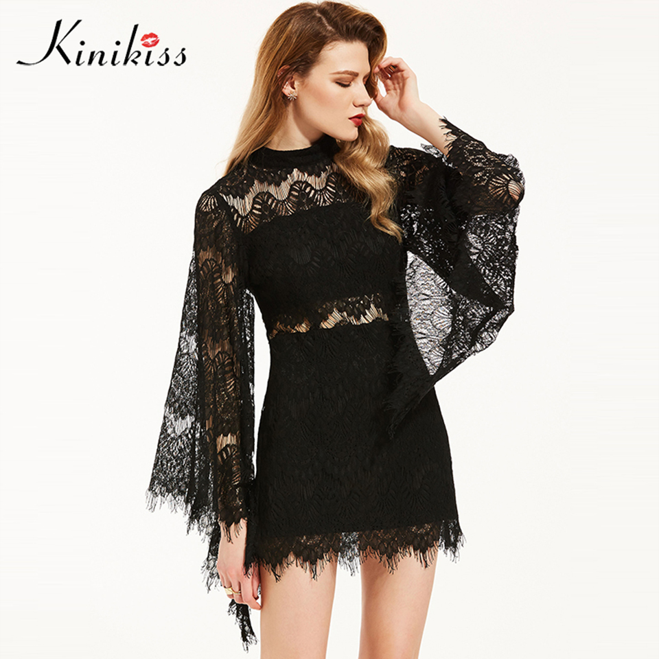 Discount Gothic 2017 New Black Long Sleeve Wedding Dresses: Kinikiss Women Black Lace Dress Hollow Out Gothic Flare