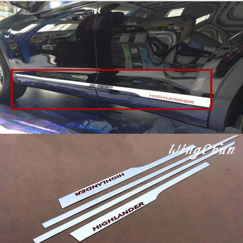 ACCESSORIES FIT FOR 2015 TOYOTA HIGHLANDER CHROME DOOR SIDE LINE GARNISH BODY MOLDING TRIM COVER PROTECTOR STYLING 4pcs/set
