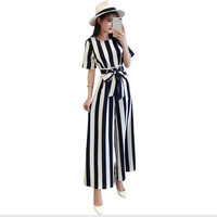 2019 New Fashion Striped Women Office Lady Jumpsuits Female Full Length With Sashes Bow Spring Summer Jumpsuits Work WomenCQ1906