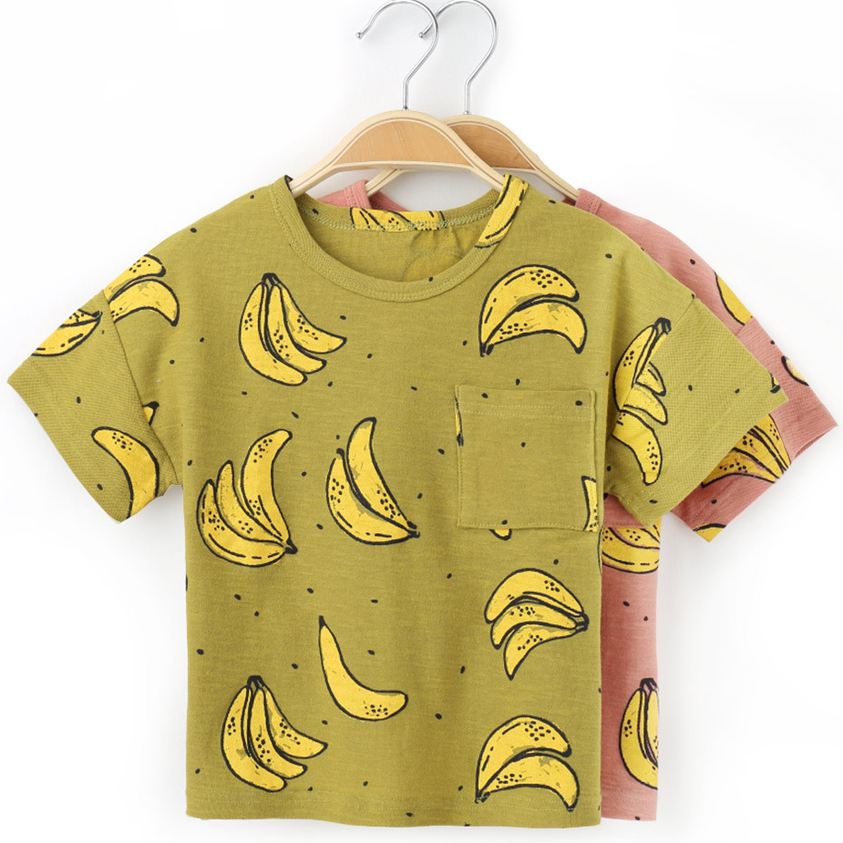Fashion Banana Printed T Shirt For Boy Cotton Kids T-shirts Summer Children T Shirts For Boys O-neck Tops Short Sleeve Clothes refreshing spaghetti strap flower print flounce swimwear for women