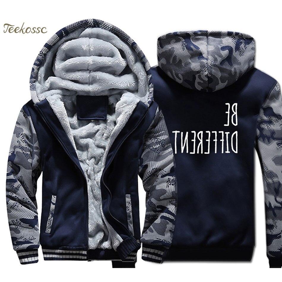 Be Different Creative Novelty Hoodie Men Funny Print Hooded Sweatshirt Coat 2018 Winter Thick Fleece Warm Camouflage Jacket Mens in Hoodies amp Sweatshirts from Men 39 s Clothing