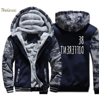 Be Different Creative Novelty Hoodie Men Funny Print Hooded Sweatshirt Coat 2018 Winter Thick Fleece Warm Camouflage Jacket Mens