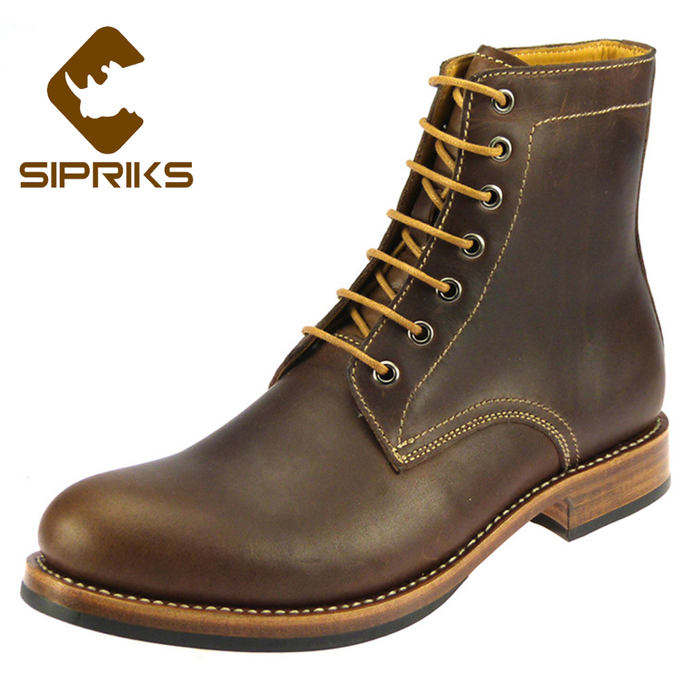 где купить Sipriks Imported Italian Crazy Horse Oil Wax Skin Boots With Non-Slip Rubber Mid Calf Motorcycle Boots Sewing Sole Martin Boots по лучшей цене