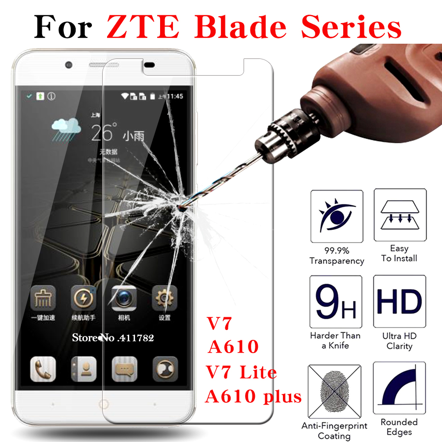 2pcs Screen Protector Tempered Glass For ZTE Blade A610/A610 plus/V7 Lite glass 9H 2.5D Ultra-thin Protective Films Case Cover