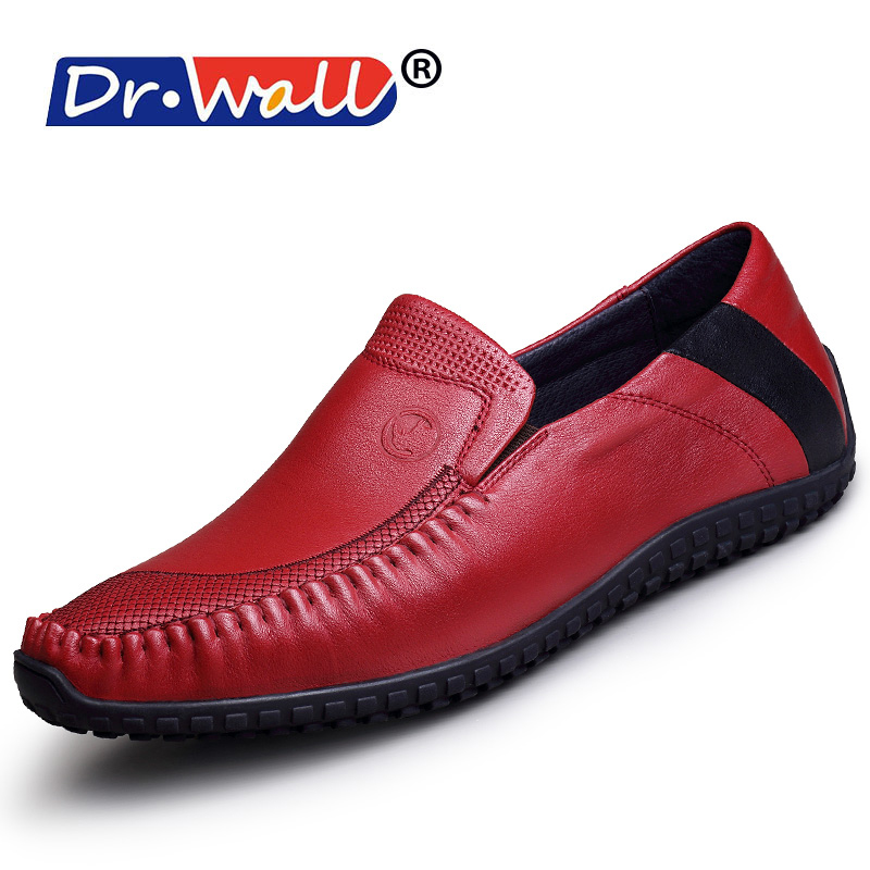 2017 Dr.wall Brand New Fashion Summer Causal Shoes Men Loafers Genuine Leather Moccasins Driving High Quality Flats For Man 2015 new fashion british martin causal genuine leather men shoes brand camel men shoes real leather men flats casual shoes man