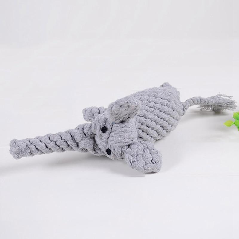 New Dog Pet Puppy Plush Sound Dog Toys Pet Toy Animal Shape Cotton Rope Braided Elephant Sound Chew Toys Pet Supplies
