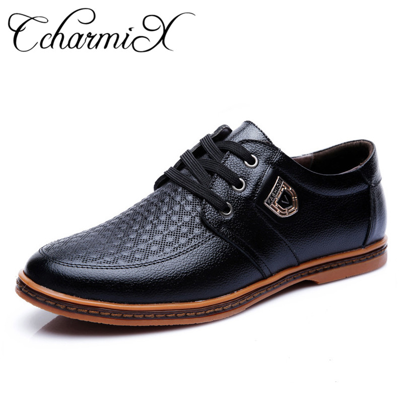 CcharmiX Men's Dress Shoes New Arrival Cow Split Leather Lace Up Men Oxfords Soft Leather Male Formal Shoe Big Size Man Footwear classic real cow leather formal shoes men plus size business flat pointe dress shoes male lace up top quality leather footwear