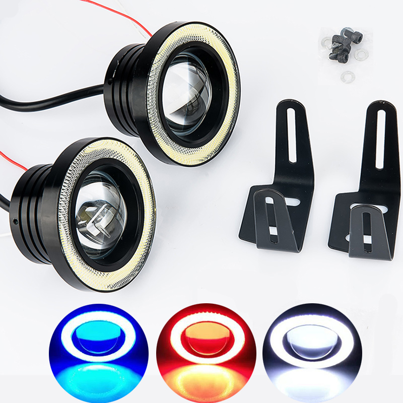 2pcs Waterproof Projector LED Fog Light With Lens Halo Angel Eyes Rings COB 30W Xenon White Blue 12V SUV ATV Off Road Fog Lamp free shipping hid xenon fog lamp projector lens kit glass lens with white red blue yellow purple green cob angel eyes
