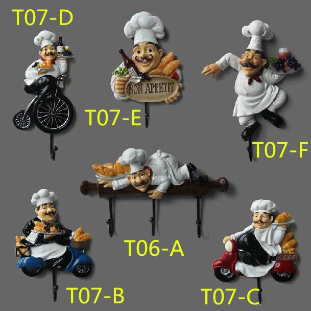 Frete grátis originalidade cook recados decorado ganchos resina com ganchos de aço roupas, Cap início decorado ganchos T07