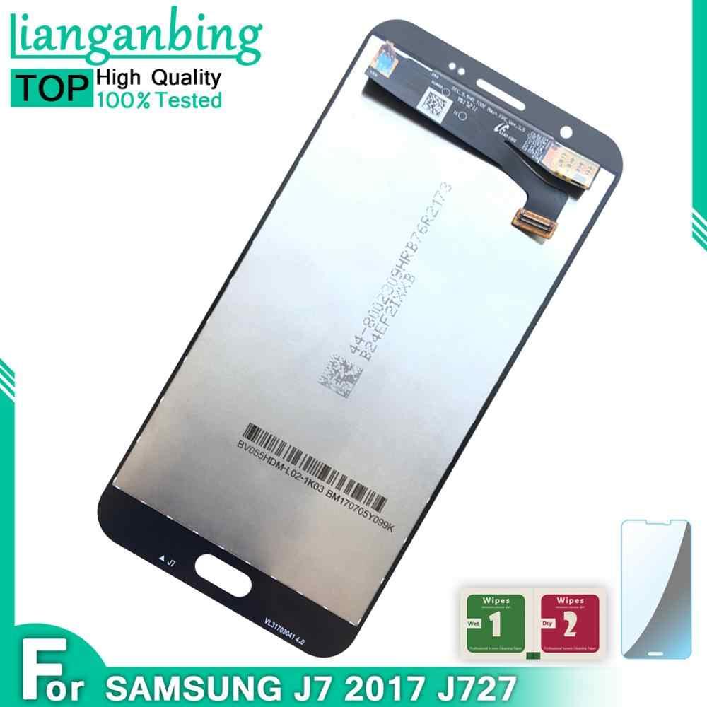 جديد سوبر AMOLED LCD J727 J7 2017 SM-J727P J727V J727A عرض 100% اختبار العمل شاشة تعمل باللمس الجمعية لسامسونج غالاكسي J727
