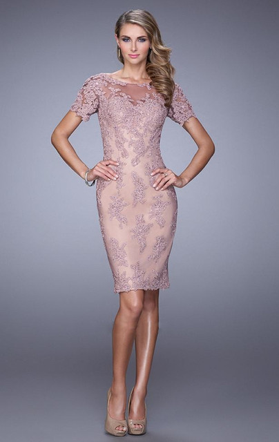 Dressgirl Lavender Cocktail Dresses 2017 Sheath Short Sleeves See Through Appliques Lace Short Mini Homecoming Dresses