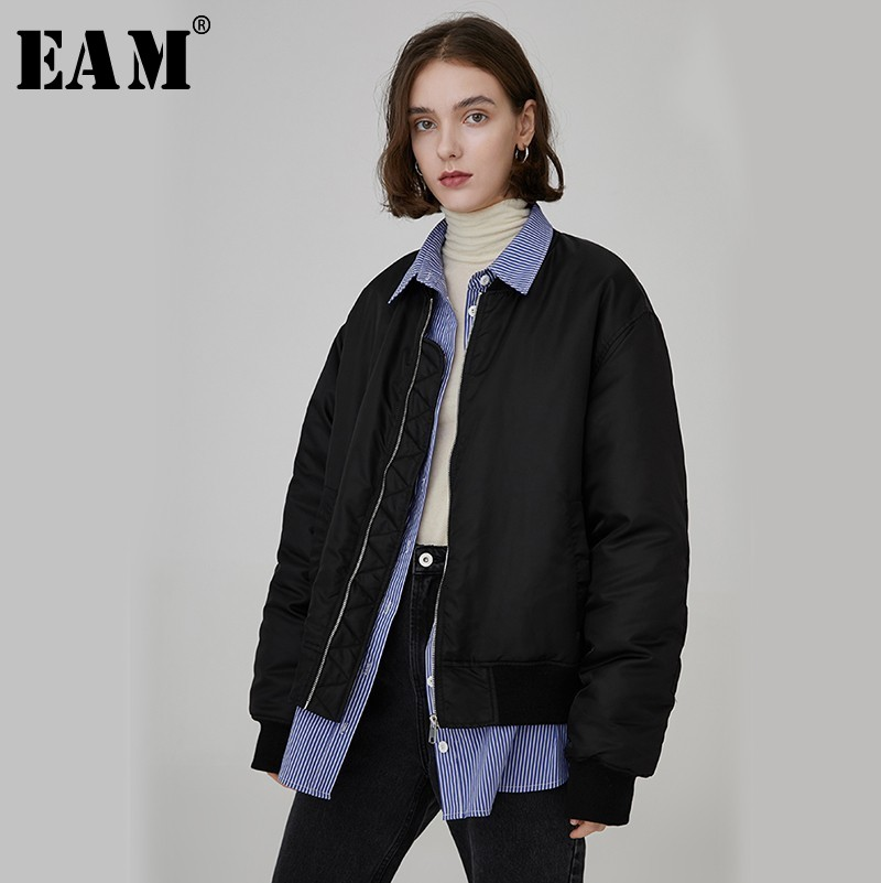 [EAM] 2019 New Spring Winter Lapel Long Sleeve Blue Striped Split Joint Big Size Cotton-padded Coat Women   Parkas   Fashion JL401