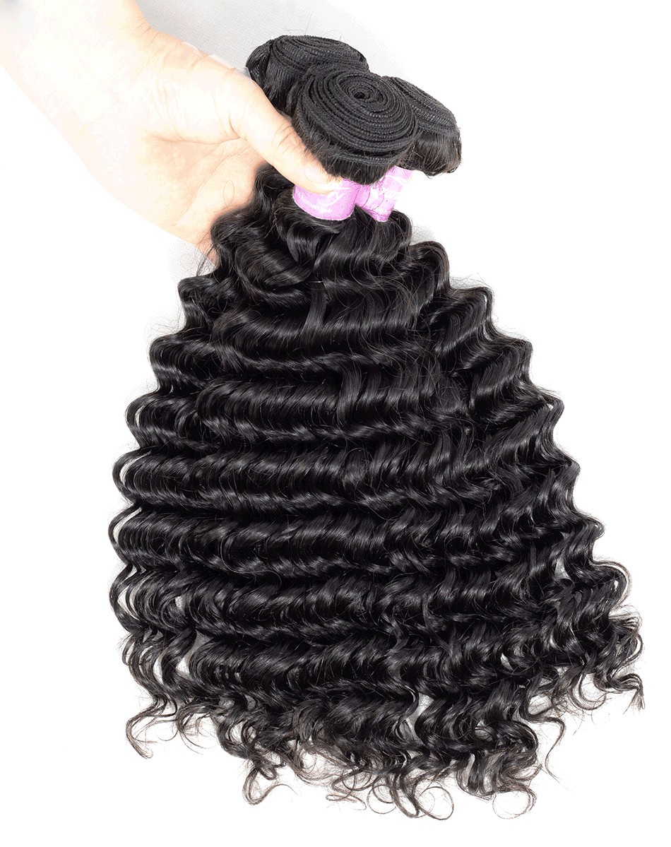deep wave human hair bundles selling  unprocessed virgin hair bundle deals