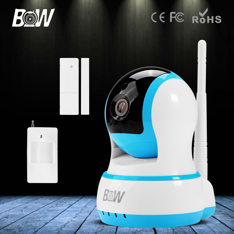 BW HD 720P Mini IP Camera Homecare Monitor Wifi Wireless Onvif Security Surveillance PTZ CCTV with Door/Infrared Motion Sensor bw wireless wifi door