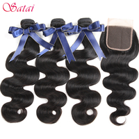 Satai Hair Brazilian Body Wave Human Hair Bundles With Closure Natural Color 3 Bundles With Closure