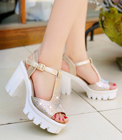 Summer Women Thick High Heel  Ankle Wrap Rhinestone Open The Toe Fashion Casual Sandals Shoes Plus Size 34-43 SXQ0615 new arrival summer shoes wrap open toe fashion women ankle strap sandals thick heel platform women sandals size 34 43 pa00776