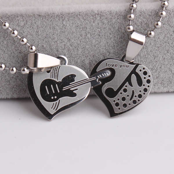 free shipping Double heart Guitar music 316L Stainless Steel pendant necklaces for  women wholesale