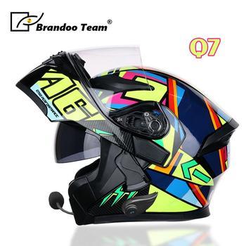 Motorcycle Protective Helmets dot for waterproof bluetooth helmet headphone moto Washed Inner Flip Up MOTO BT helmet