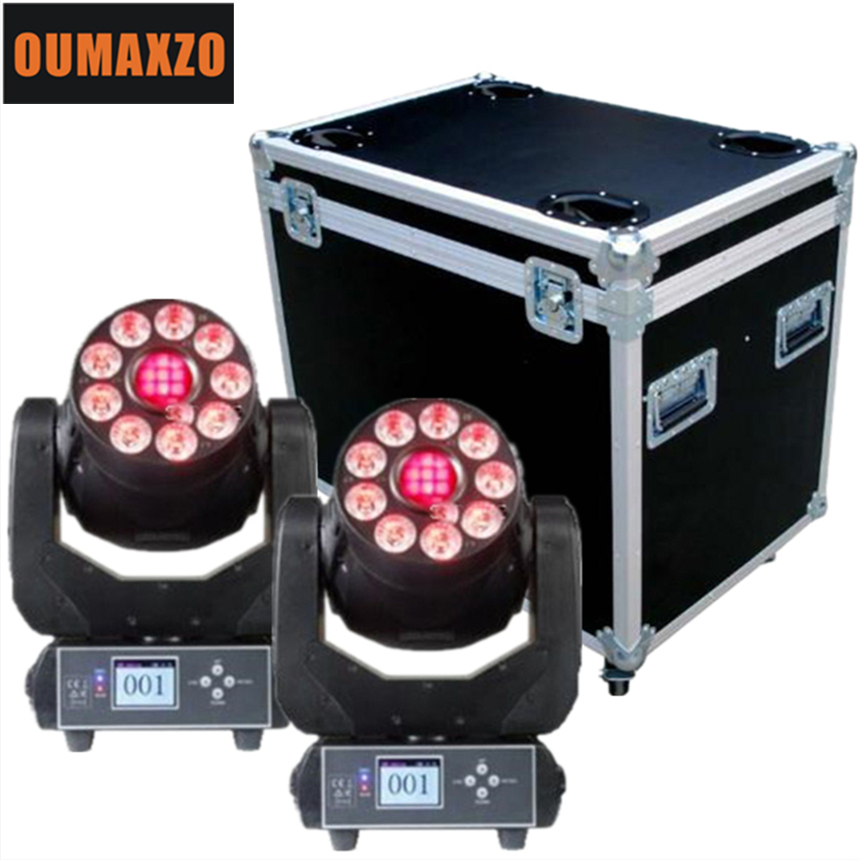 2PCS/lot&flightcase 9x12w 6in1 LED wash light 75w spot moving head Disco Stage light led spot moving head light 75w 9x12w rgbwa