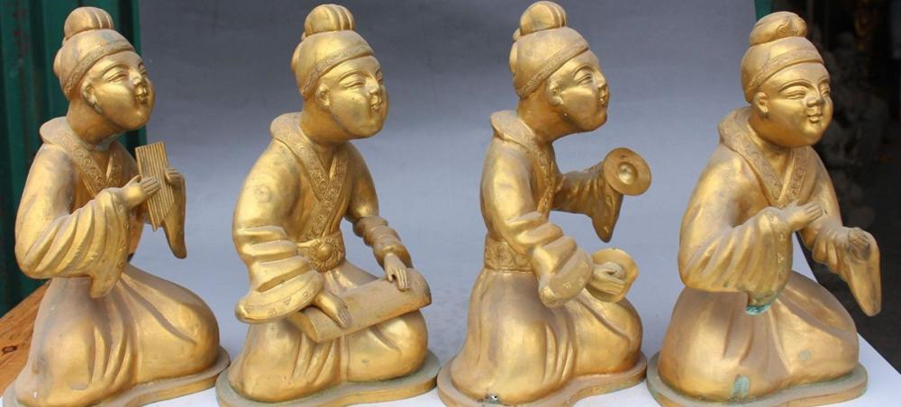 11 Chinese Folk Brons Gild Seat Belle Beauty Muziekinstrumenten Qin Standbeeld Set - 2