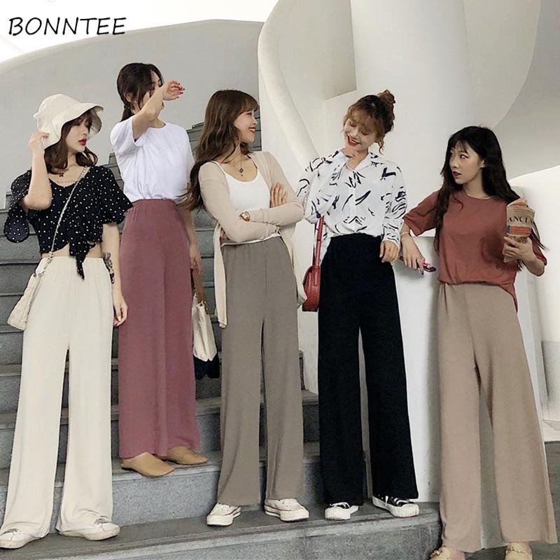 Pants   Women Elastic Waist Full Length   Wide     Leg     Pant   Korean Style Womens Solid Simple Daily Leisure Slim Students Trousers Trendy