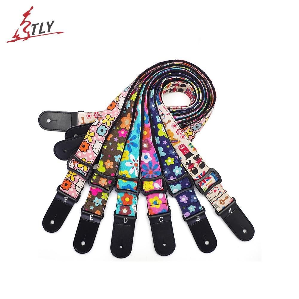 Adjustable Soft Cotton Multi-color Printing Mini Guitar Strap Ukelele Ukulele Strap Belt w/ Leather Ends