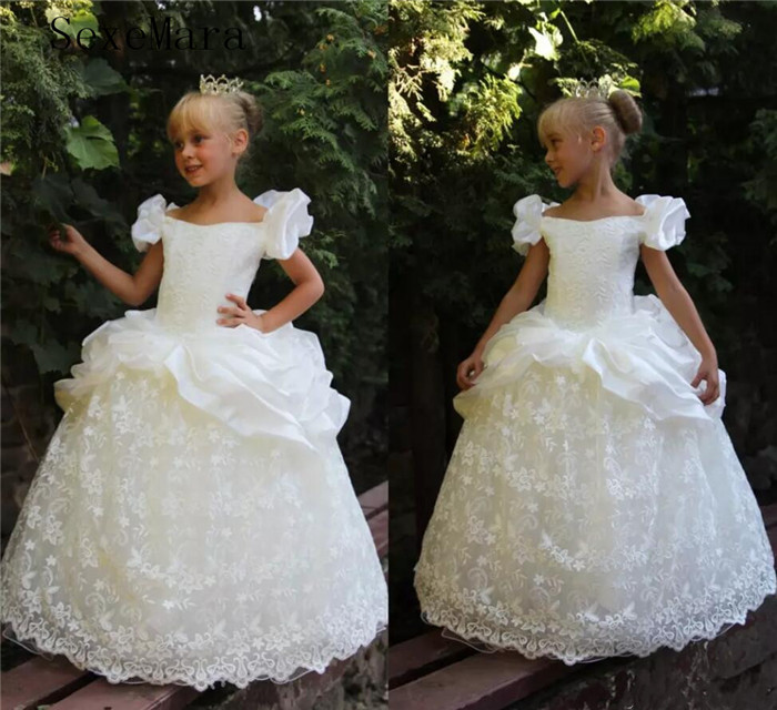 Princess White Lace Flower Girl Dresses Off The Shoulder Satin Floor Length kids Girls Birthday Party Dress Pageant Gowns white off the shoulder lace details bodysuit