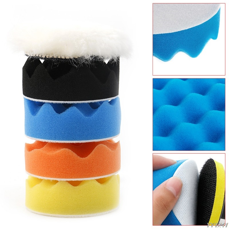 "50 Pcs 80mm 3/"" Inch Colorful Buffing Polishing Sponge Pads Kit For Car Polisher"