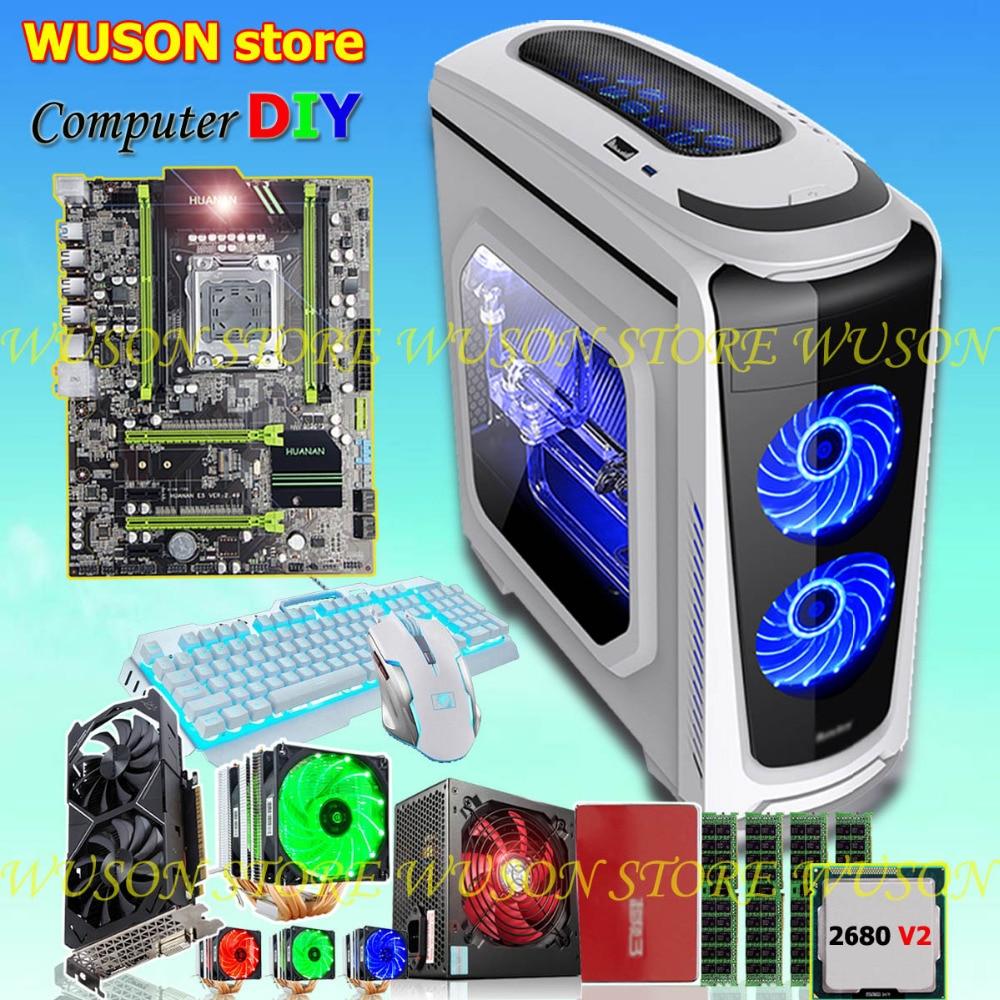 HUANAN X79 carte mère BRICOLAGE ensemble CPU Xeon E5 2680 V2 RAM 32g (4*8g) DDR3 RECC 500 Watts PSU carte vidéo GTX1050Ti 240g SATA3.0 SSD