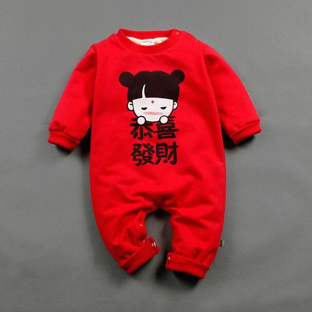 Младенца хлопка Мальчики Девочки Одежда Прекрасный Китайский Новый Год Костюм Традиционная Одежда Печати Младенца Onesie Комбинезоны Комбинезоны