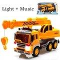 3D легкая музыка большой автокран инерции мальчик дети пластиковая игрушка грузовик игрушки для мальчиков инжиниринг литья под давлением транспортных средств
