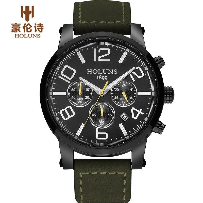 Luxury Brand HOLUNS Men'S Watch Pilot Quartz Wrist Watches Sport  Luminous Casual Male Clock  Relogio Masculino splendid brand new boys girls students time clock electronic digital lcd wrist sport watch