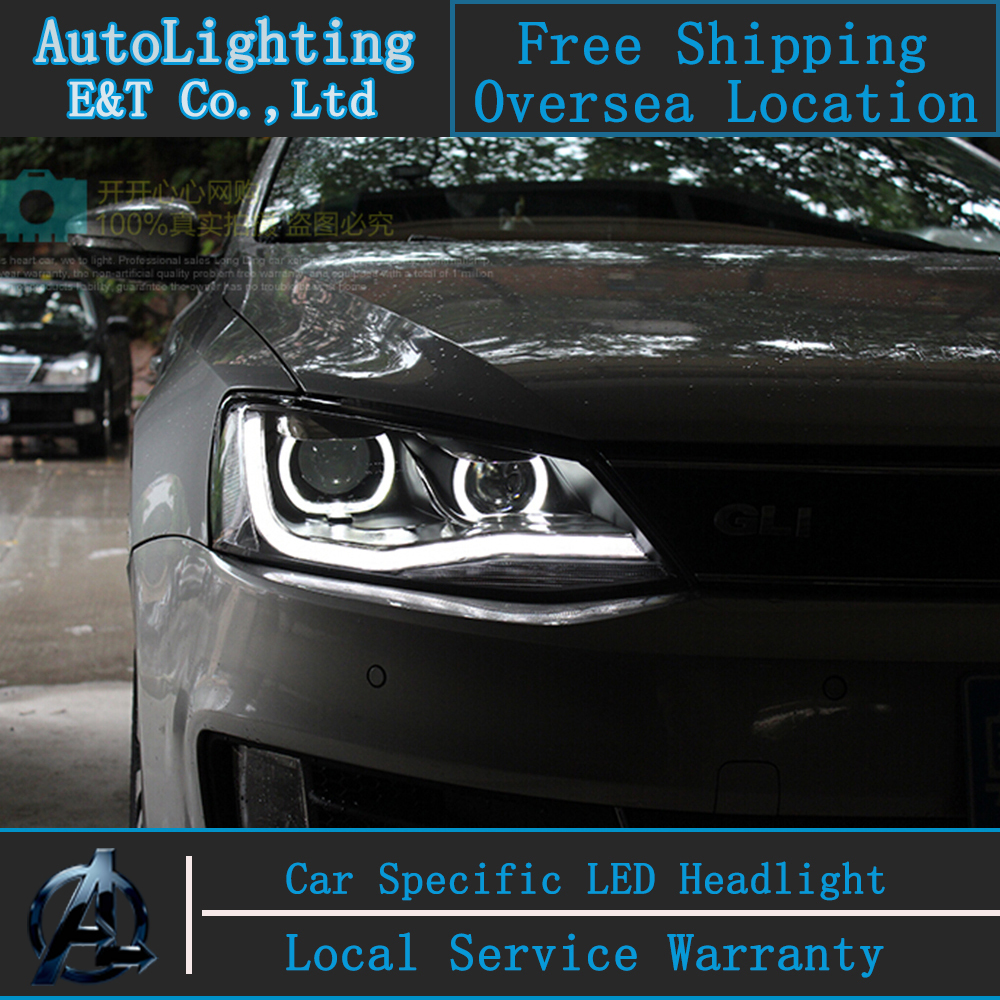 Car Styling LED Head Lamp for VW Jetta headlight assembly 2011-2014 Jetta MK6 led headlight drl H7 with hid kit 2 pcs. car styling head lamp for bmw e84 x1 led headlight assembly 2009 2014 e84 led drl h7 with hid kit 2 pcs