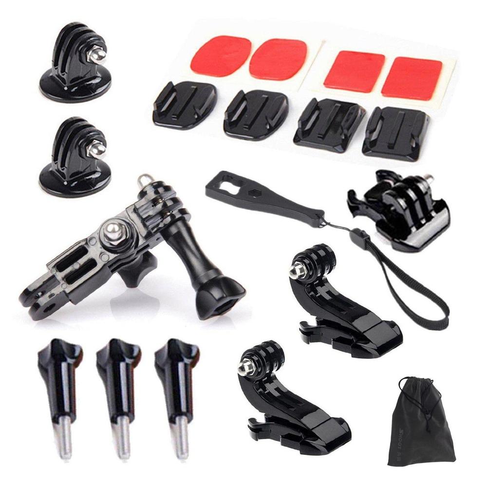 Gopro Accessories Set Kits Quick Base Adapter 3 Way Arm Tripod Mount for SJCAM SJ4000 SJ6000